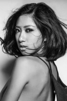 Headshot photo of Hong Kong Asian model Candy Chong b&w